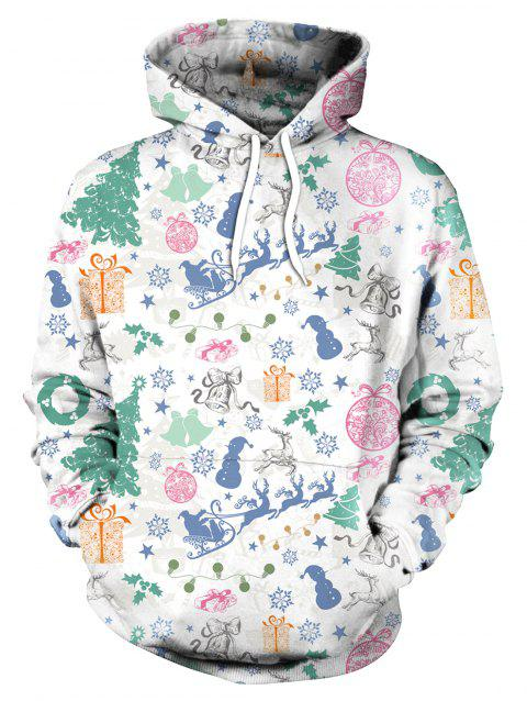 Allover Printed Long Sleeve Christmas Hoodie - WHITE 2XL