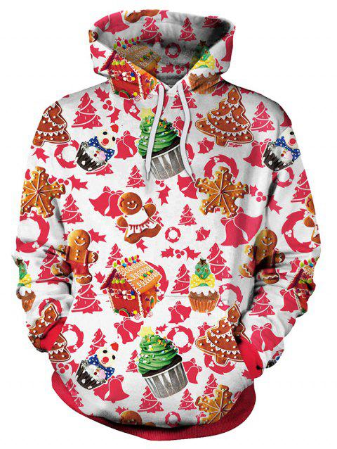 Christmas Theme Cake Print Pullover Hoodie - multicolor 2XL