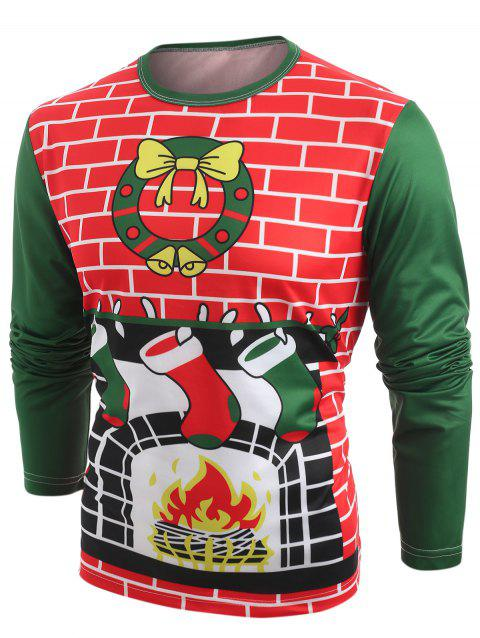 Fireplace Christmas Stocking Prints Long Sleeve T-shirt - DARK FOREST GREEN S