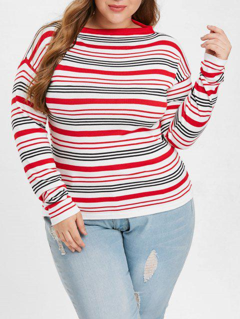 Color Block Striped Plus Size Sweater - WHITE 2X