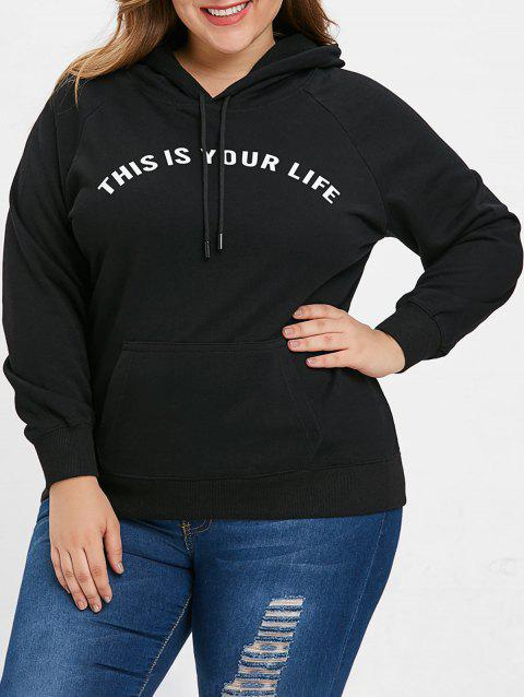 Plus Size Drawstring Letter Pattern Hoodie - BLACK 1X