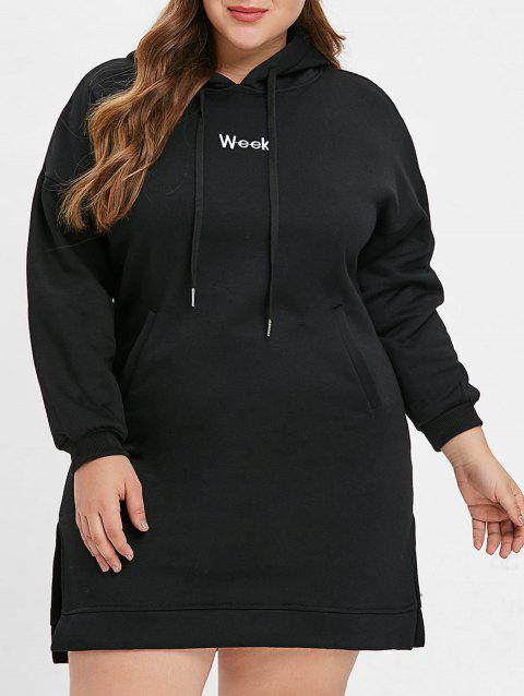 2018 Plus Size Letter Print Drawstring Hoodie Dress In Black 4x