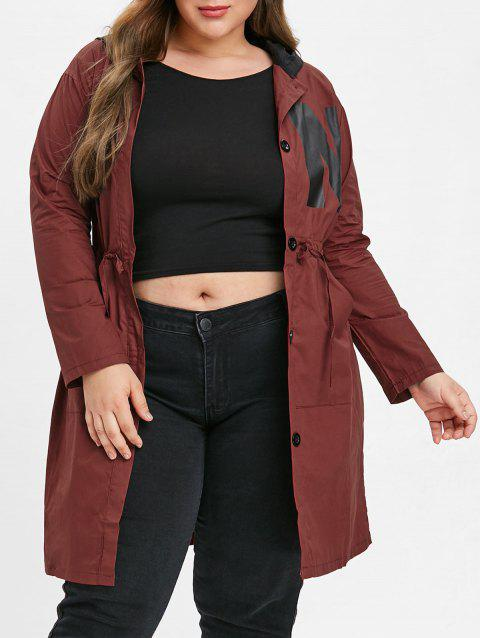 Plus Size Printed Drawstring Waist Coat - RED WINE 5X