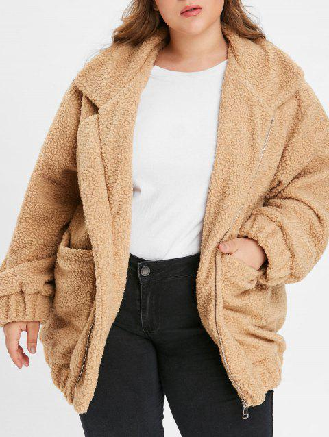 Plus Size Stand Collar Fluffy Coat - BROWN SUGAR 1X