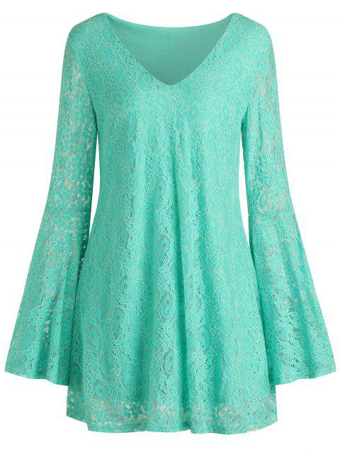 Mini Flare Sleeve Lace Dress - MINT GREEN XL