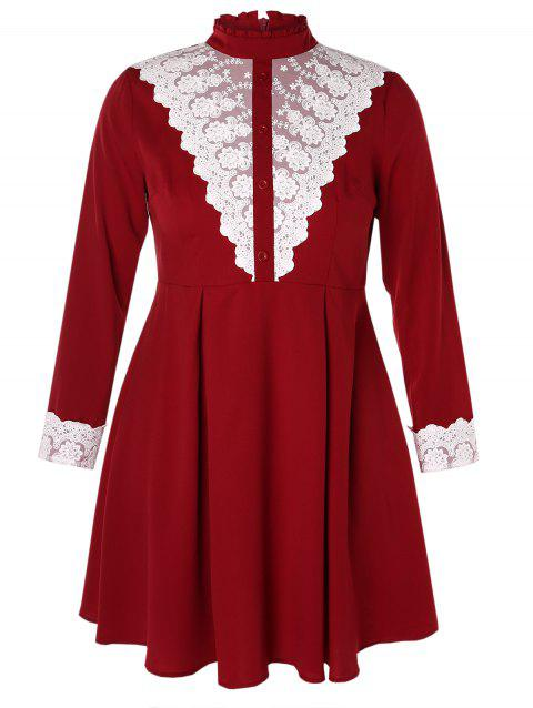 Plus Size Contrast Lace High Waist Dress - RED WINE 4X