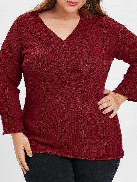 V Neck Plus Size Sweater - RED WINE ONE SIZE