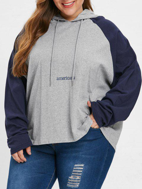 Plus Size Drawstring Americana Hoodie - LIGHT GRAY ONE SIZE