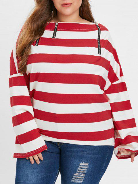 Plus Size Bare Shoulder Striped T-shirt - RED ONE SIZE