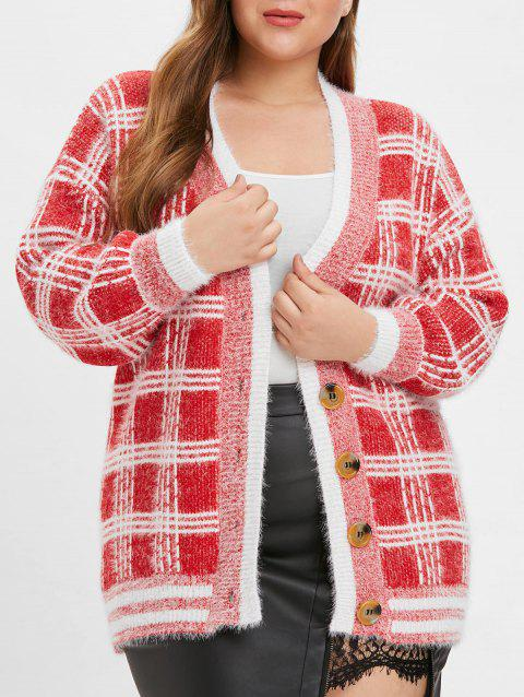 Plus Size Single Breasted Tartan Cardigan - RED ONE SIZE