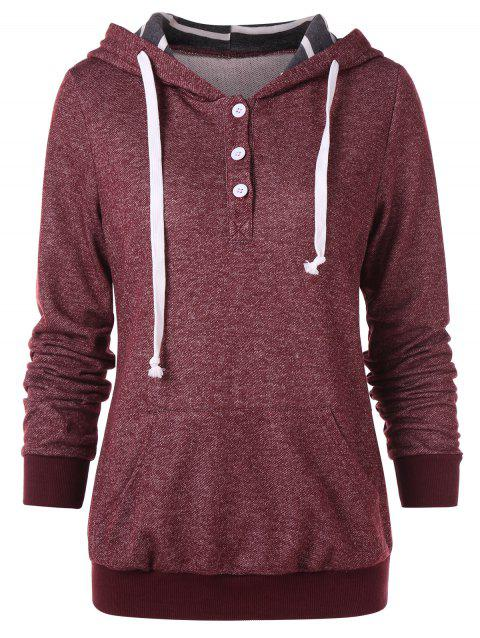 Half Button Kangaroo Pocket Hoodie - RED WINE M