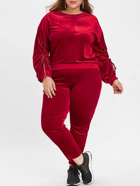 Plus Size Round Neck Velvet Sport Suit