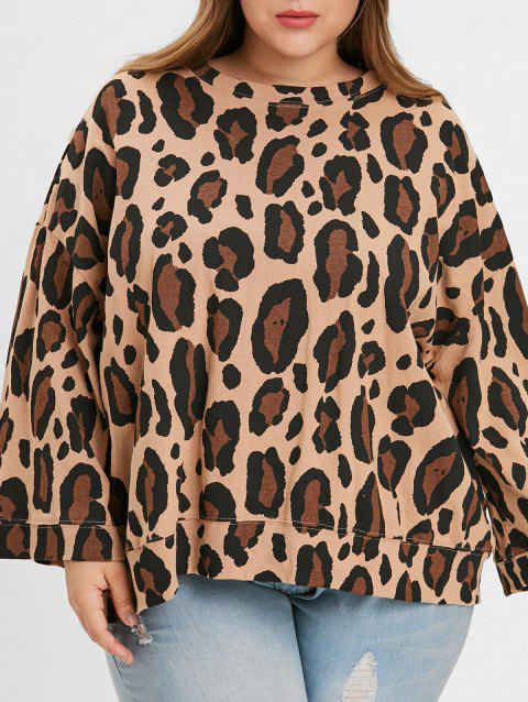 Plus Size Drop Shoulder Leopard Print T-shirt - LEOPARD ONE SIZE