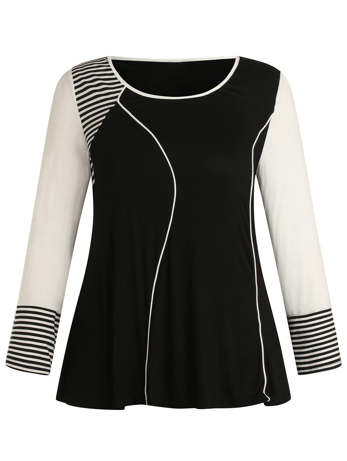 Plus Size Color Block Long Sleeves Striped Tee - BLACK 1X