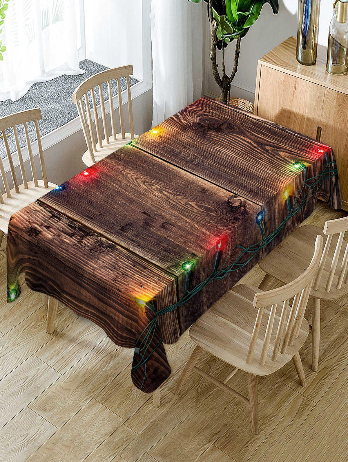 Christmas Light Wooden Print Fabric Waterproof Table Cloth - multicolor W60 X L84 INCH