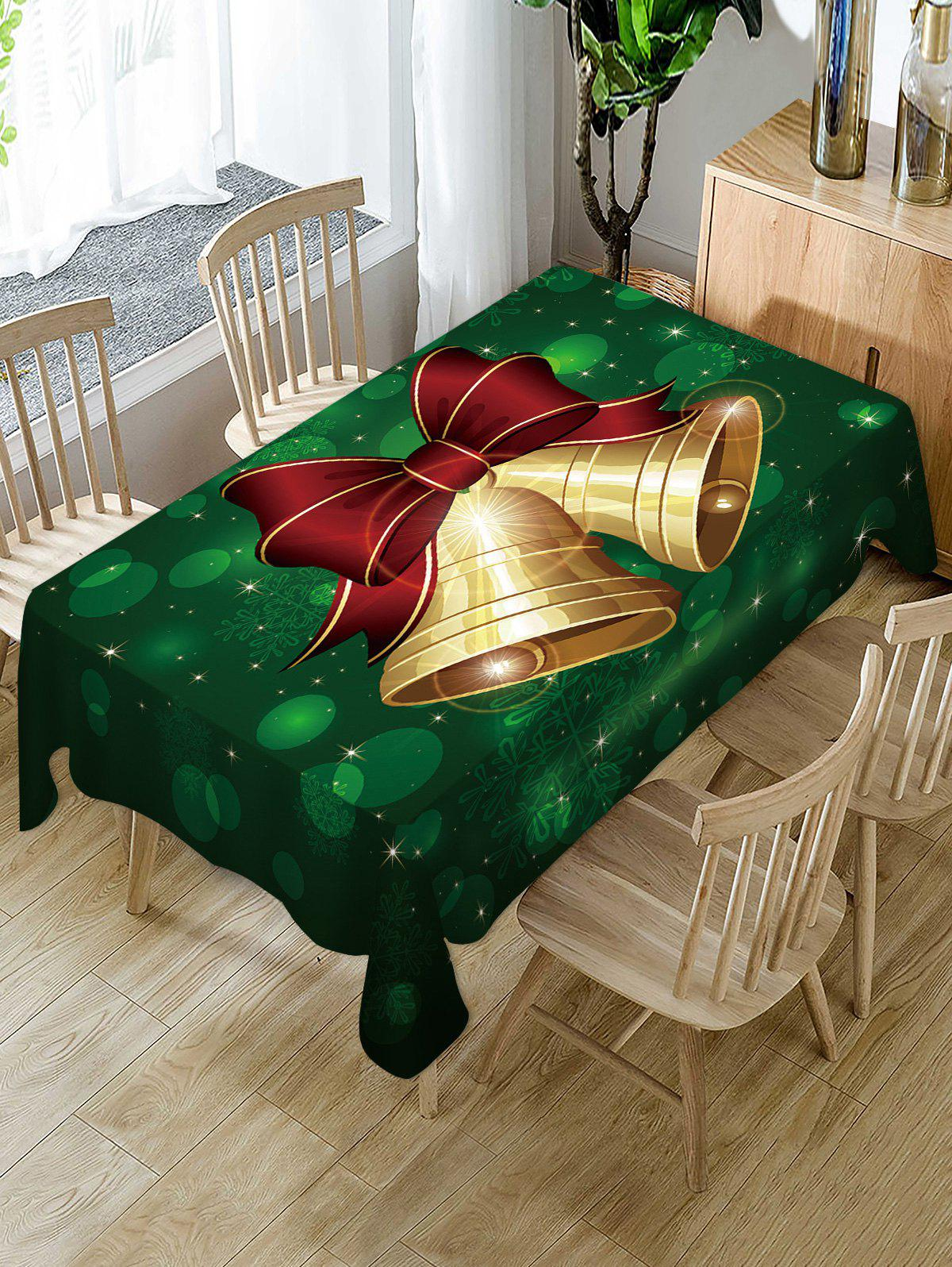 Christmas Bell Print Fabric Waterproof Table Cloth - multicolor W54 X L72 INCH