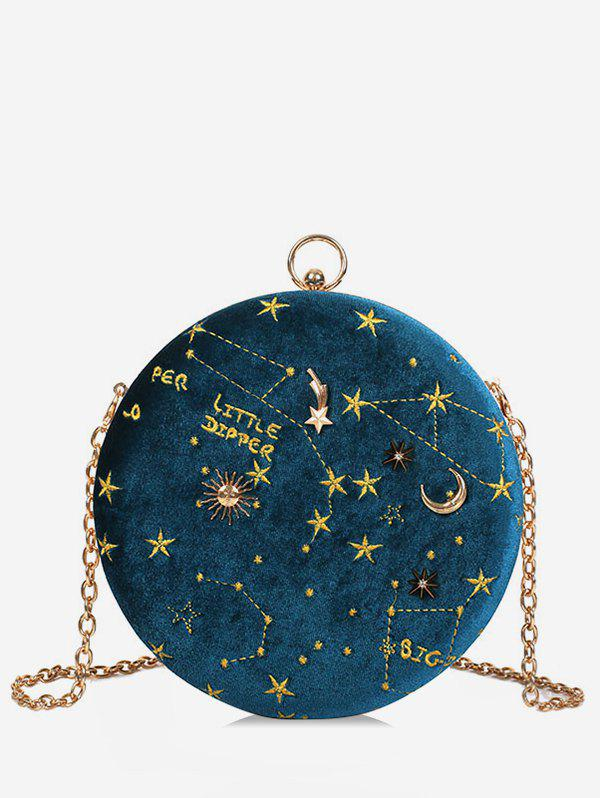 Round Shape Embroidery Star Crossbody Bag - BLUE IVY
