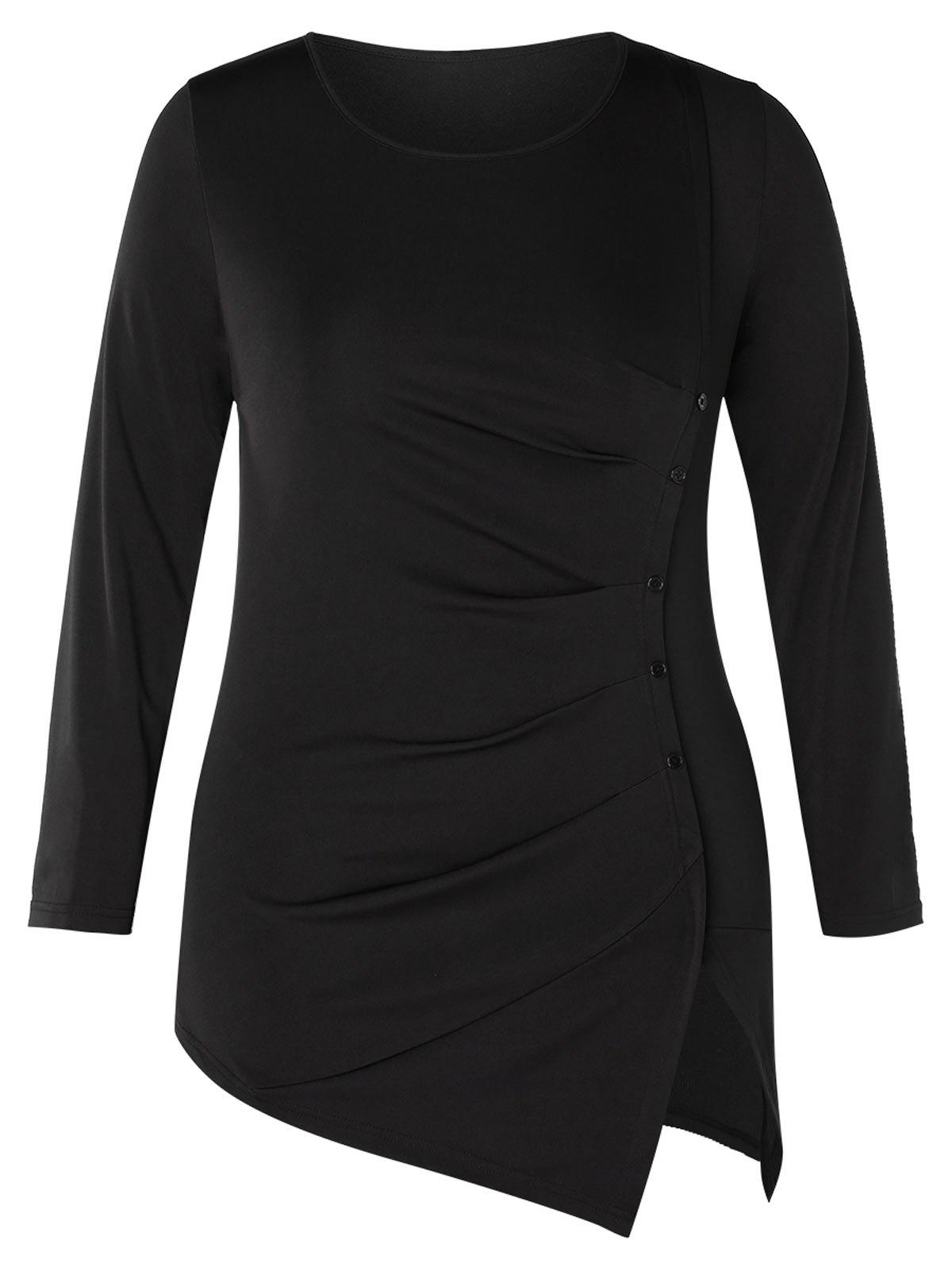 Plus Size Long Sleeve Ruched Slit T-shirt - BLACK 4X