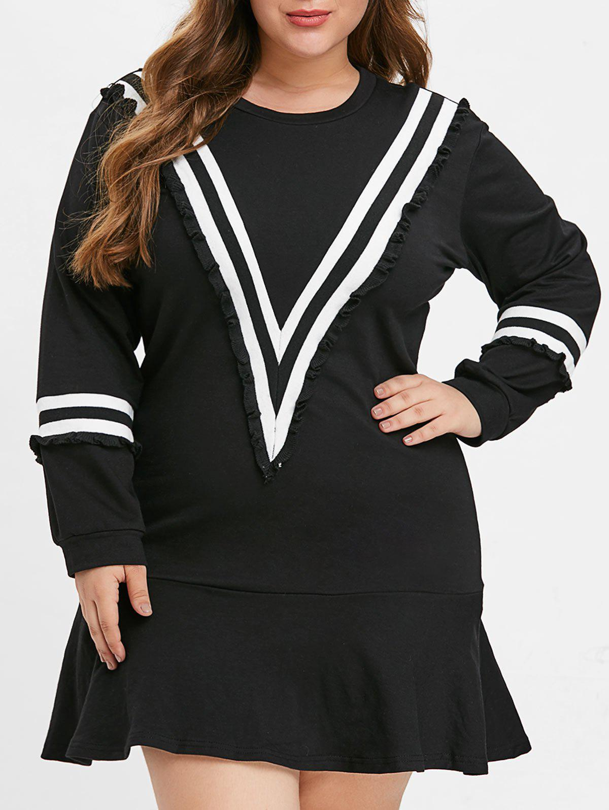 Plus Size Chevron Ruffle Hem Mini Dress - BLACK 2X