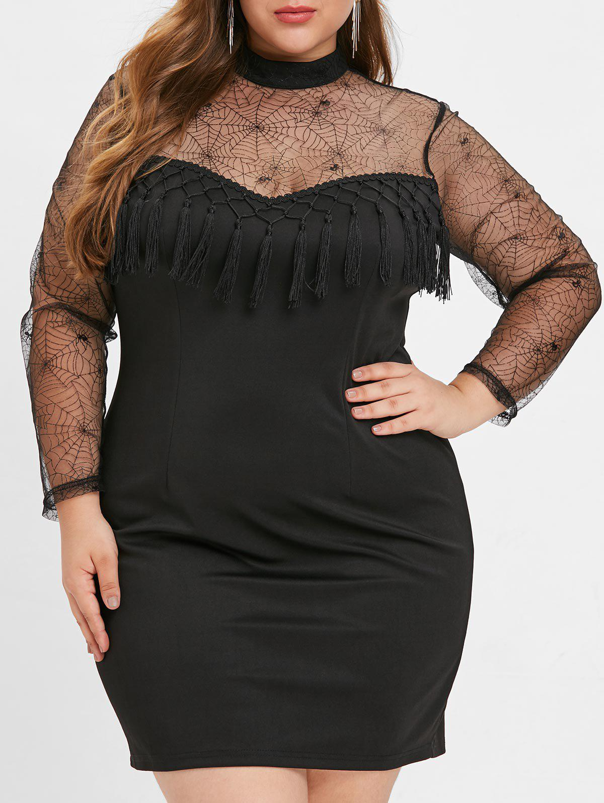 Plus Size Mock Neck Mesh Bodycon Dress