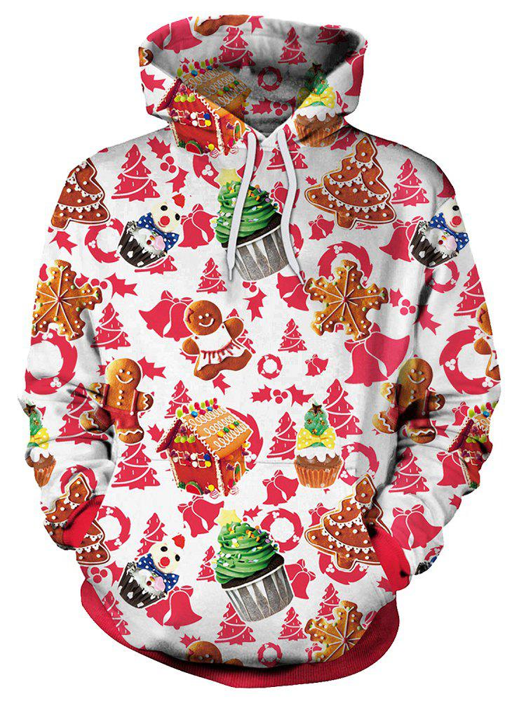Christmas Theme Cake Print Pullover Hoodie - multicolor XL