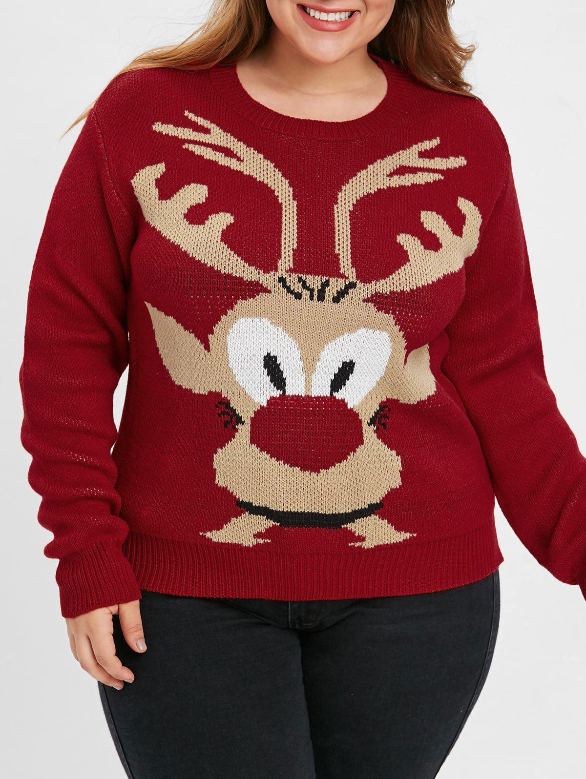 Plus Size Christmas Elk Sweater - RED L