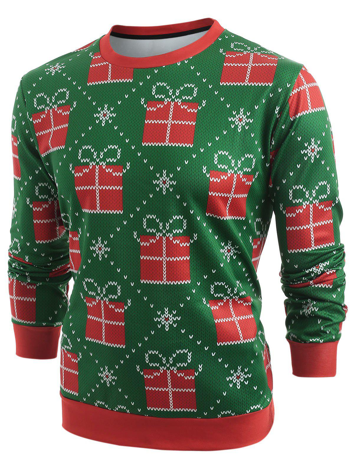 Christmas Gifts Knitted Print Long Sleeve Sweatshirt - MEDIUM SEA GREEN L