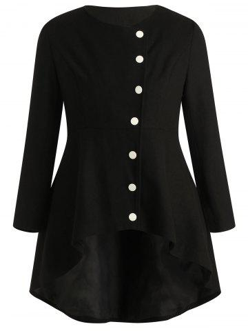 Plus Size Buttoned High Low Coat