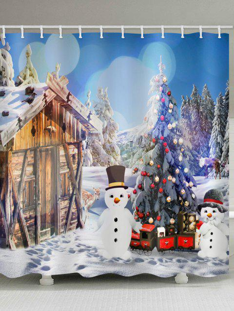 House with Two Snowman Print Bathroom Shower Curtains - multicolor W71 X L71 INCH
