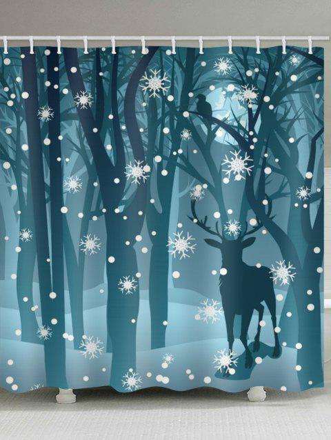 Deer in the Snow Forest Print Bathroom Shower Curtains - multicolor W71 X L71 INCH