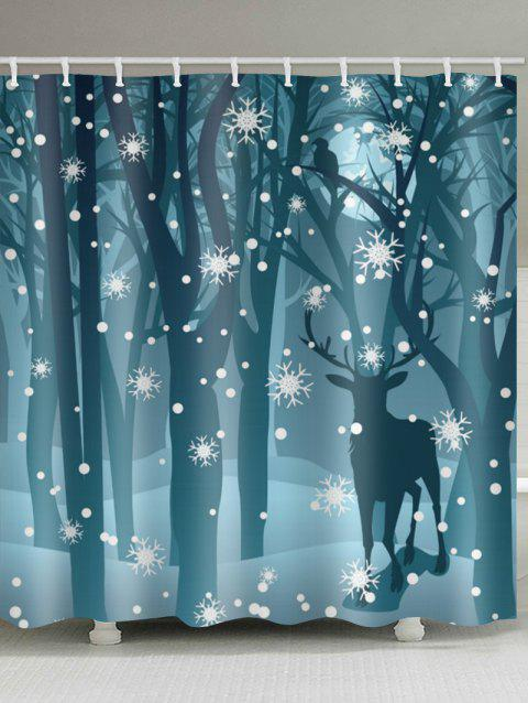 Deer in the Snow Forest Print Bathroom Shower Curtains - multicolor W59 X L71 INCH