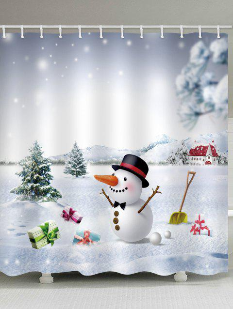Snow Land with Snowman Print Waterproof Shower Curtain - multicolor W71 X L71 INCH