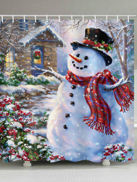 Christmas House with Snowman Print Bathroom Shower Curtains - multicolor W71 X L79 INCH
