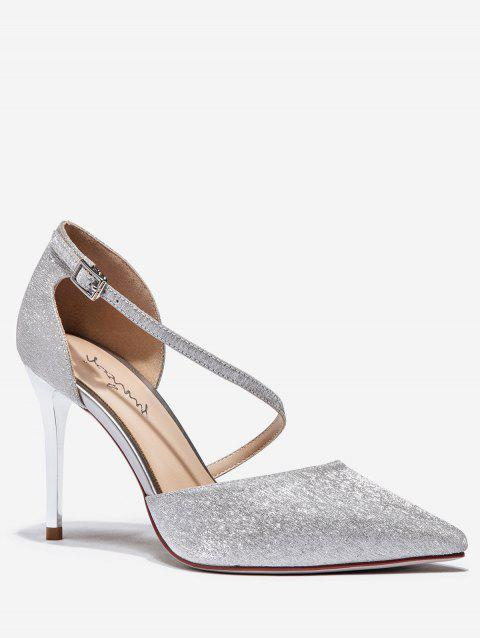 Sparkling Pointed Toe High Heel Pumps - SILVER EU 39