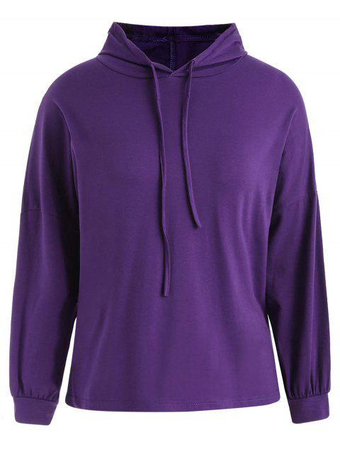 Plus Size Dropped Shoulder Hoodie - PURPLE ONE SIZE