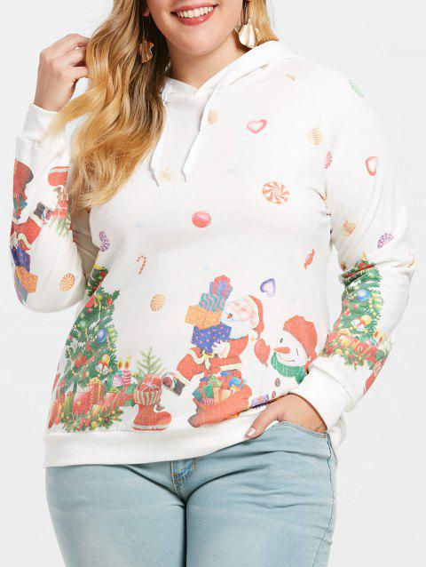 Plus Size Printed Christmas Pullover Hoodie - WHITE 5X