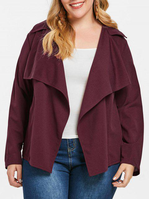 Plus Size Lace Crochet Panel Coat - MAROON 2X