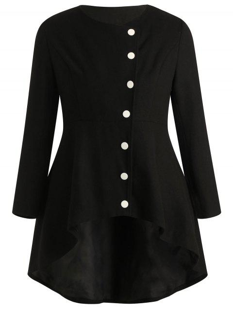 Plus Size Buttoned High Low Coat - BLACK L