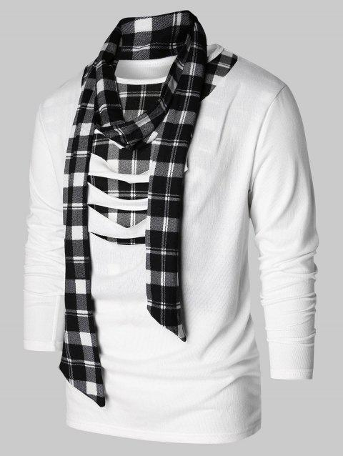 Checked Print Destroyed Scarf Collar T-shirt - WHITE M