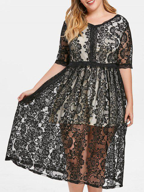 Plus Size Short Sleeve Lace Mid Calf Dress - BLACK 4X