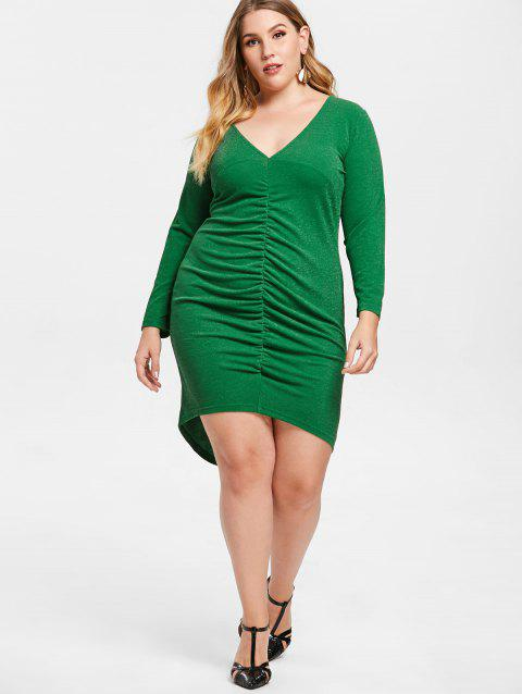 Plus Size Ruched Low Cut Bodycon Dress