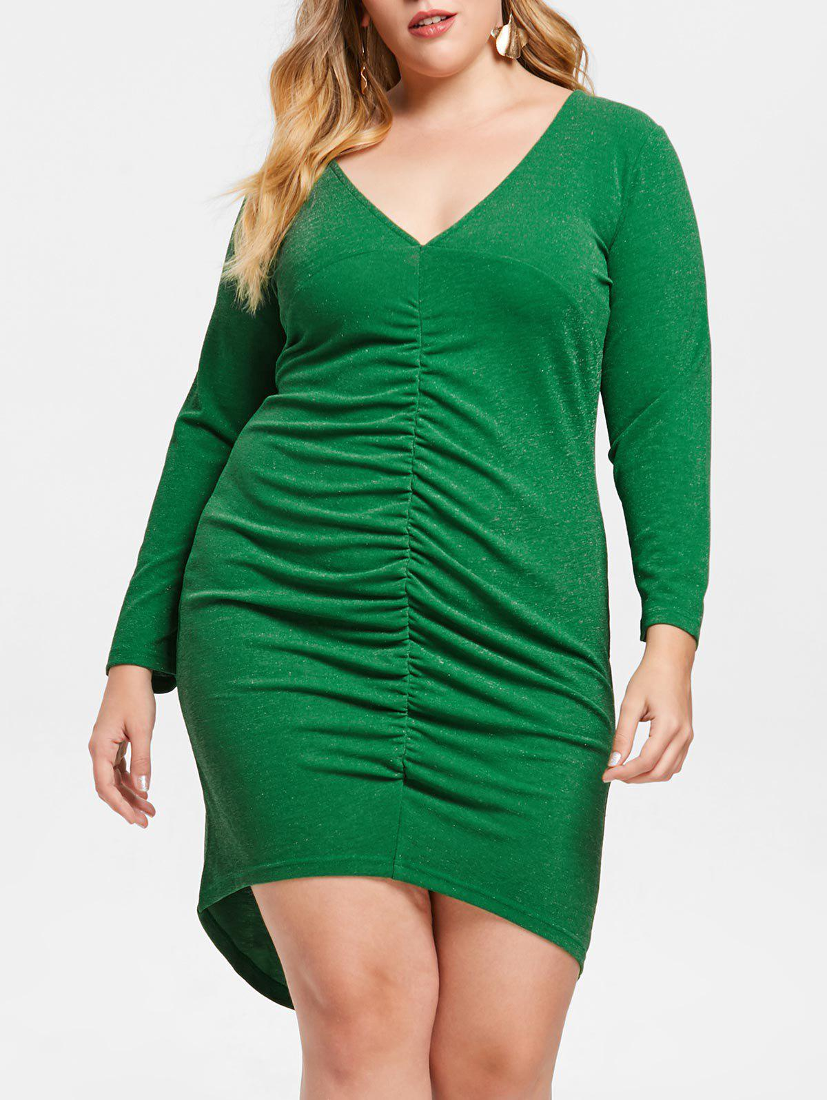 Plus Size Ruched Low Cut Bodycon Dress - JUNGLE GREEN L