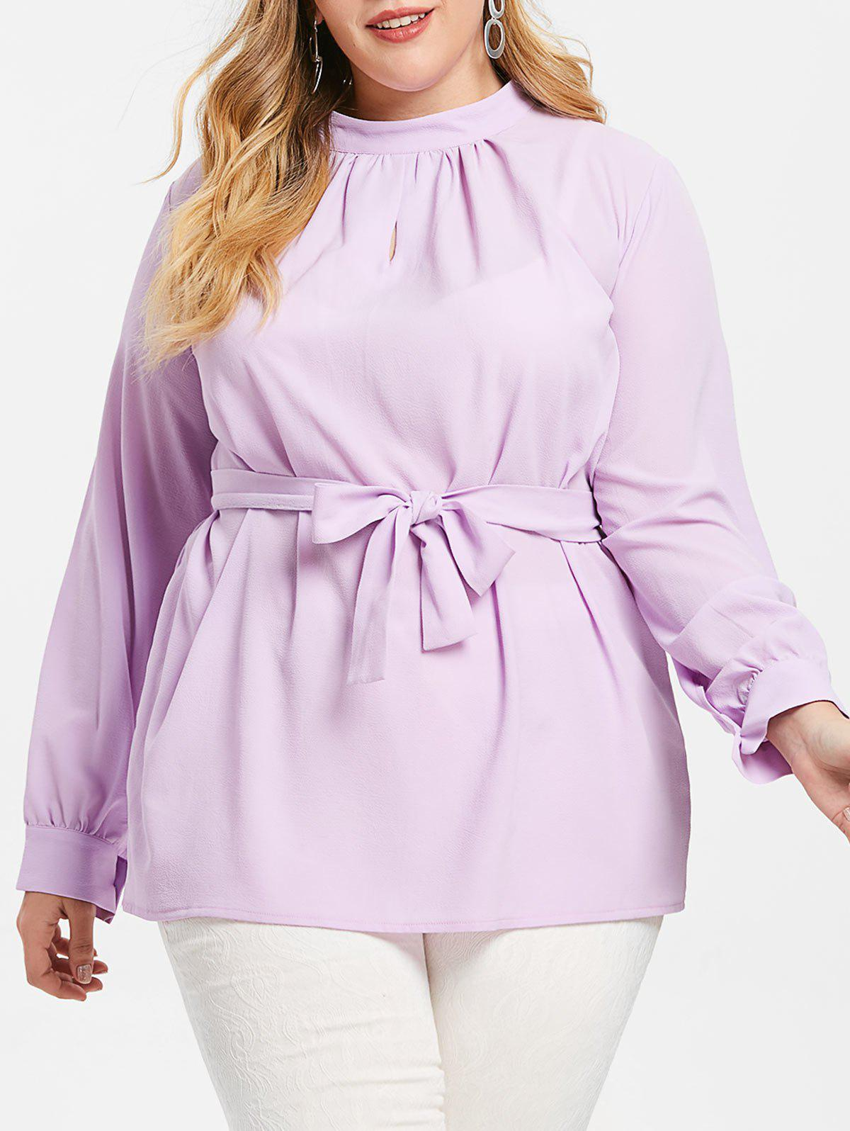 Plus Size Belted Tunic Blouse