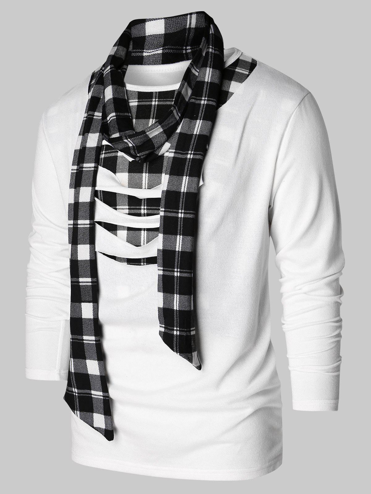 Checked Print Destroyed Scarf Collar T-shirt - WHITE XL