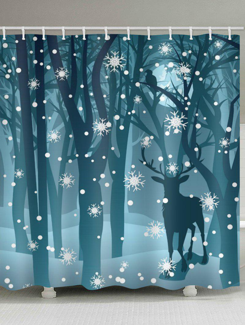 Deer In The Snow Forest Print Bathroom Shower Curtains