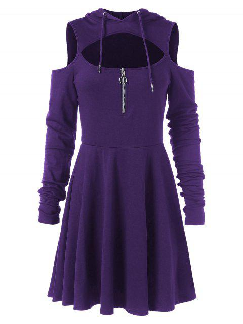 Cold Shoulder Long Sleeve Hooded Dress - PURPLE IRIS M