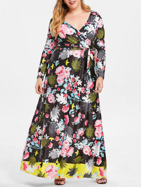 9c2df7dd8b3 LIMITED OFFER  2019 Floral Print Maxi Plus Size Dress In BLACK 4X ...
