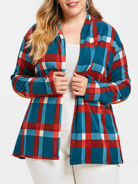 Elbow Patch Checked Plus Size Cardigan - BLUE IVY 2X