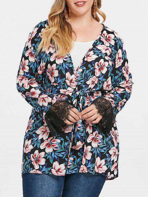 Plus Size Flower Pattern Coat with Belt - multicolor 2X