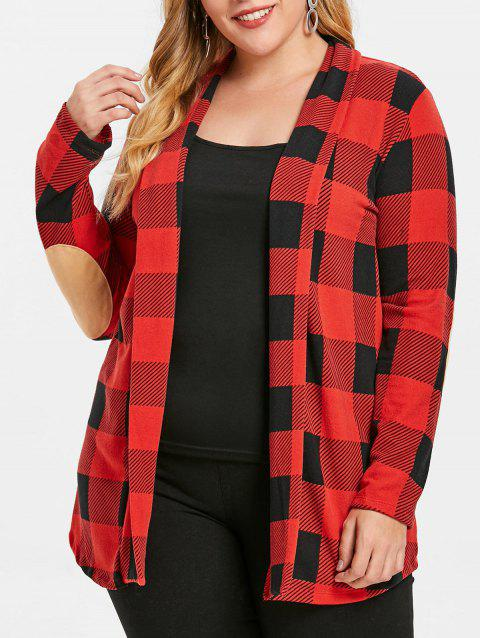 Elbow Patch Checked Plus Size Cardigan - RED 1X